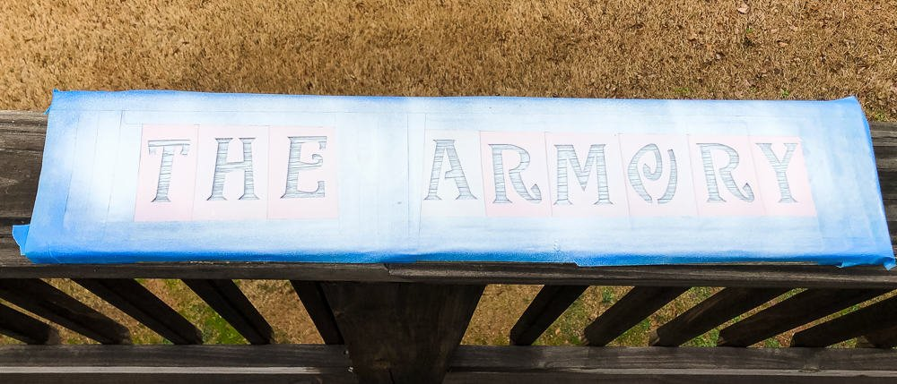 armory sign waiting to dry