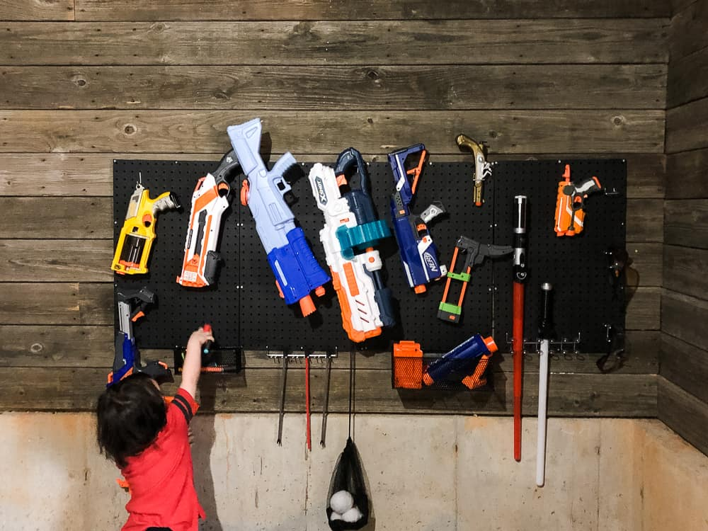 finishing pegboard nerf armory