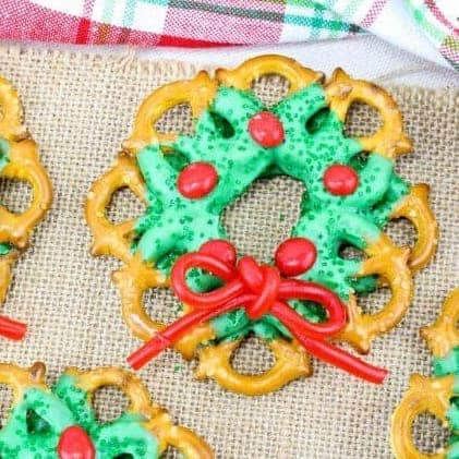 Christmas pretzel wreaths.