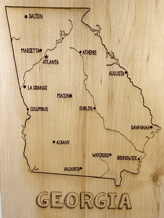 Georgia Map cutting board from Naptime Laser Designs