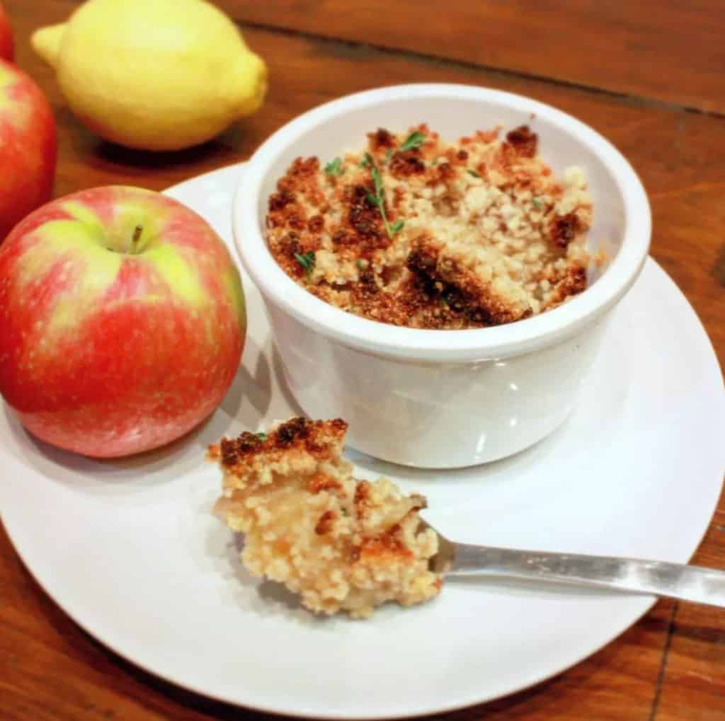 Paleo Apple Crumble made with only a few ingredients.