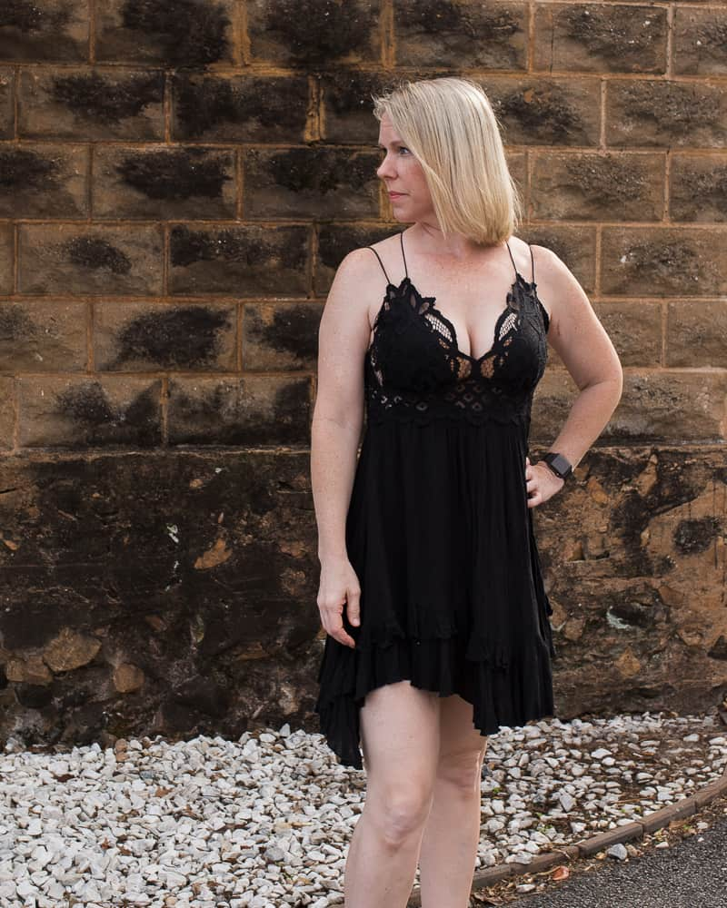 Georgia lifestyle blogger Amanda Seghetti models the free people adella slip dress in black