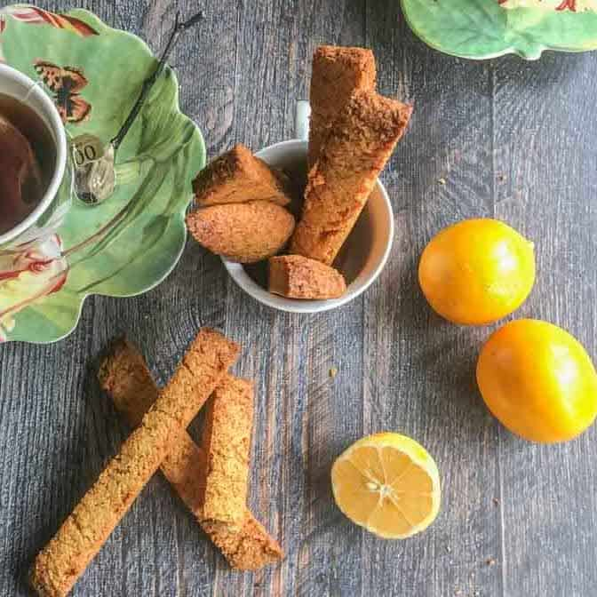 Meyer lemon and ginger biscotti,