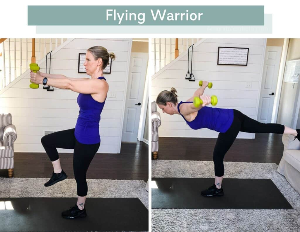 P90X3 Total Synergistics Flying Warrior with 5 pound dumbbells