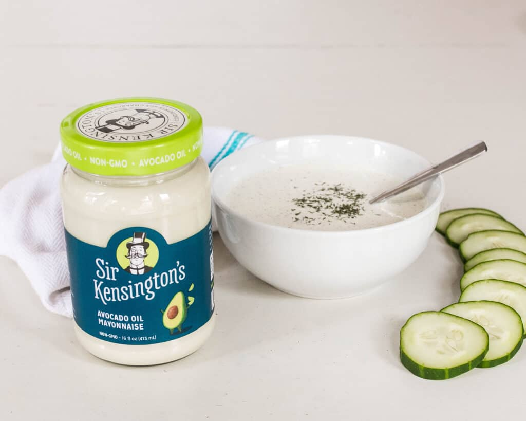 Sir Kensington's Avocado Oil May and paleo tzatziki sauce with sliced cucumbers