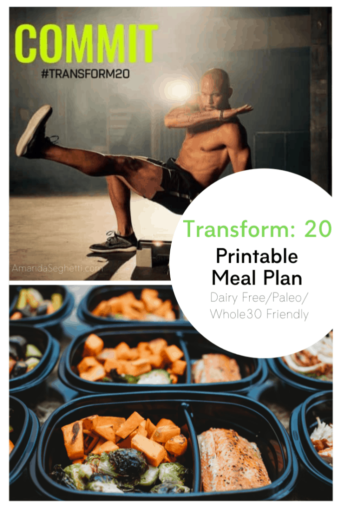 Transform 20 Meal Plan Dairy Free with Printable!