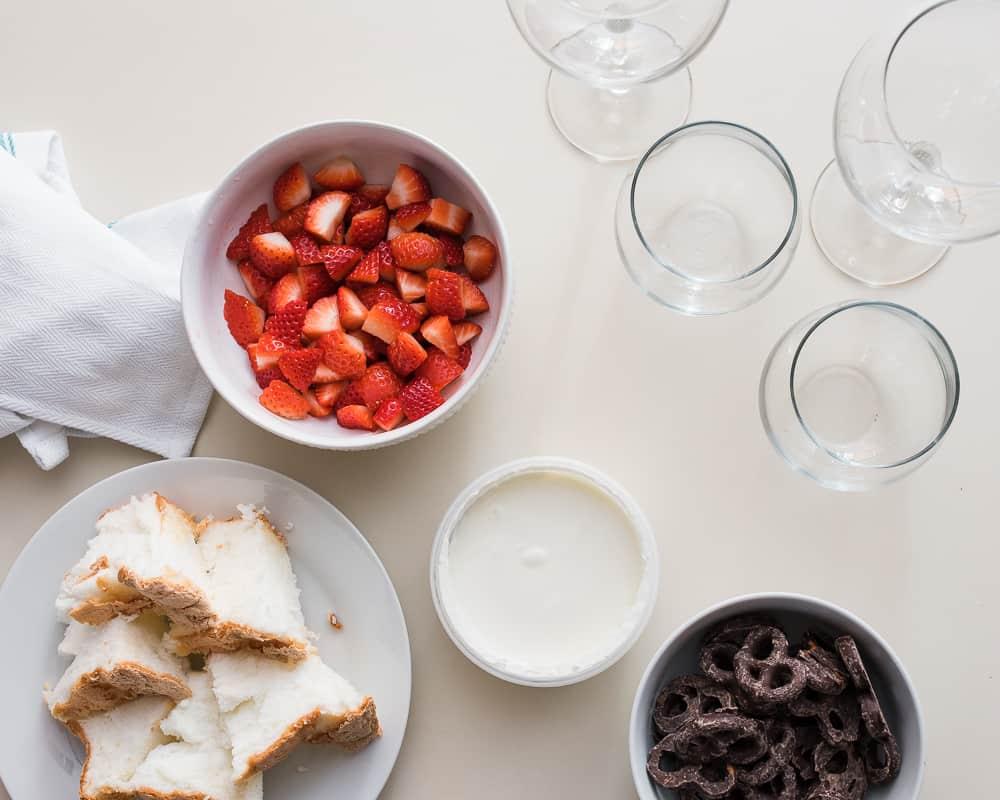 Valentine's Day Parfait ingredients