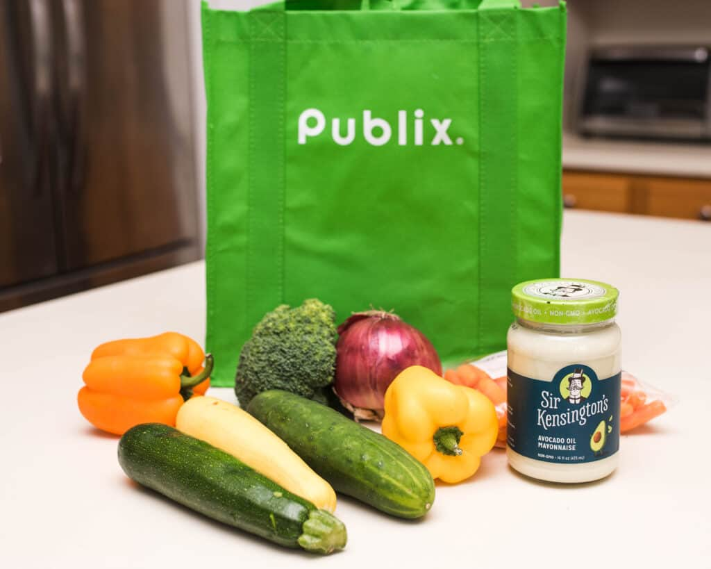 Publix reusable shopping bag with healthy recipe ingredients