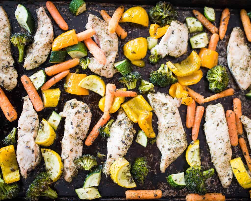 sheet pan chicken and veggies - Amanda Seghetti
