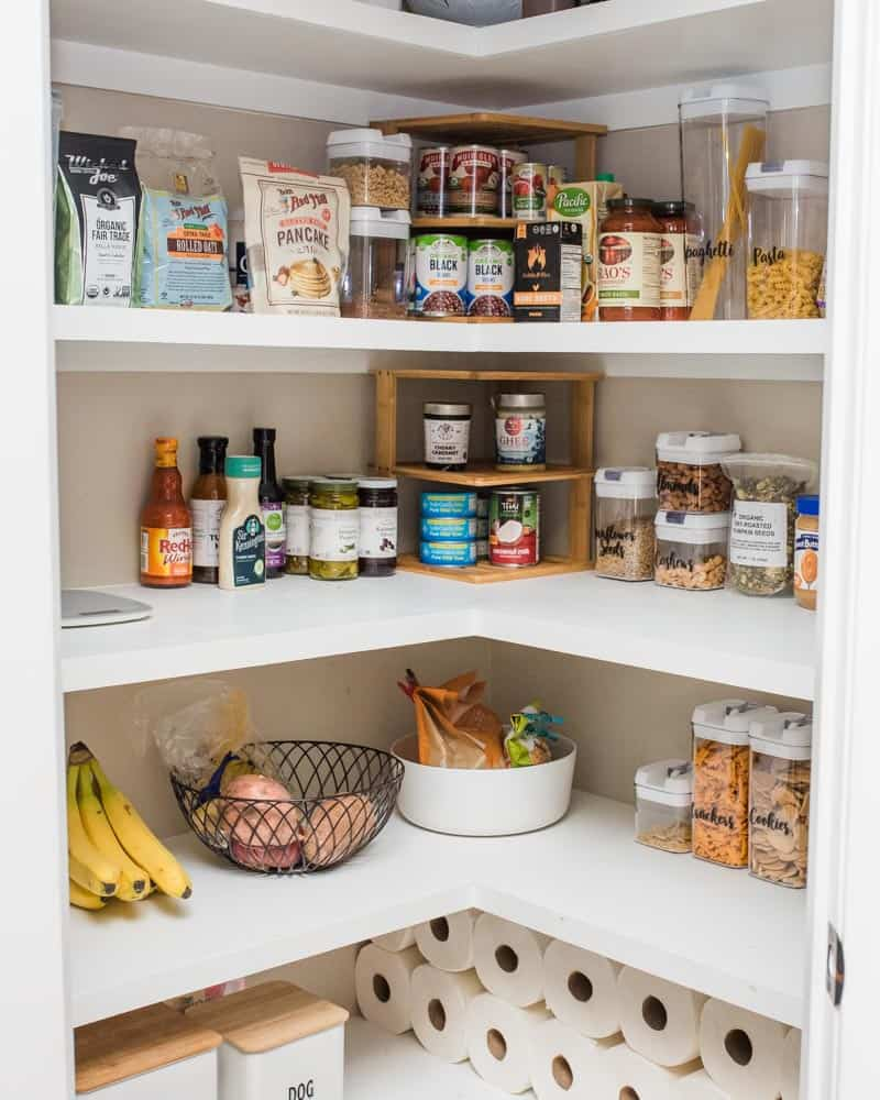 Corner pantry filled with healthy foods for clean eating lifestyle