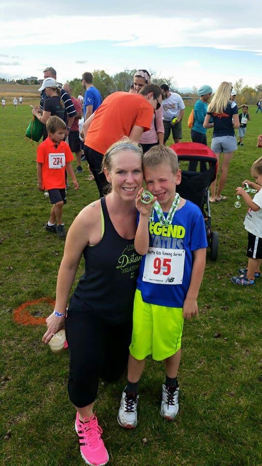 Kaiden running in Healthy Kids Running Series in Aurora, Colorado