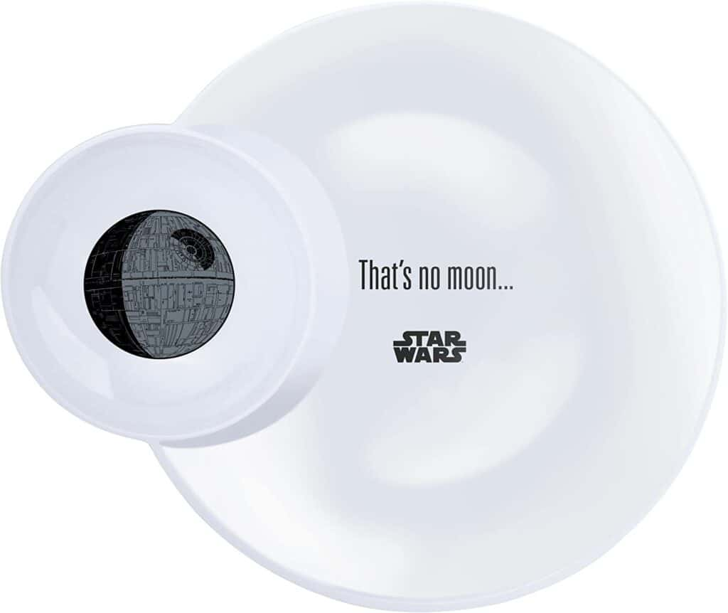 white star wars plate with built in dip bowl