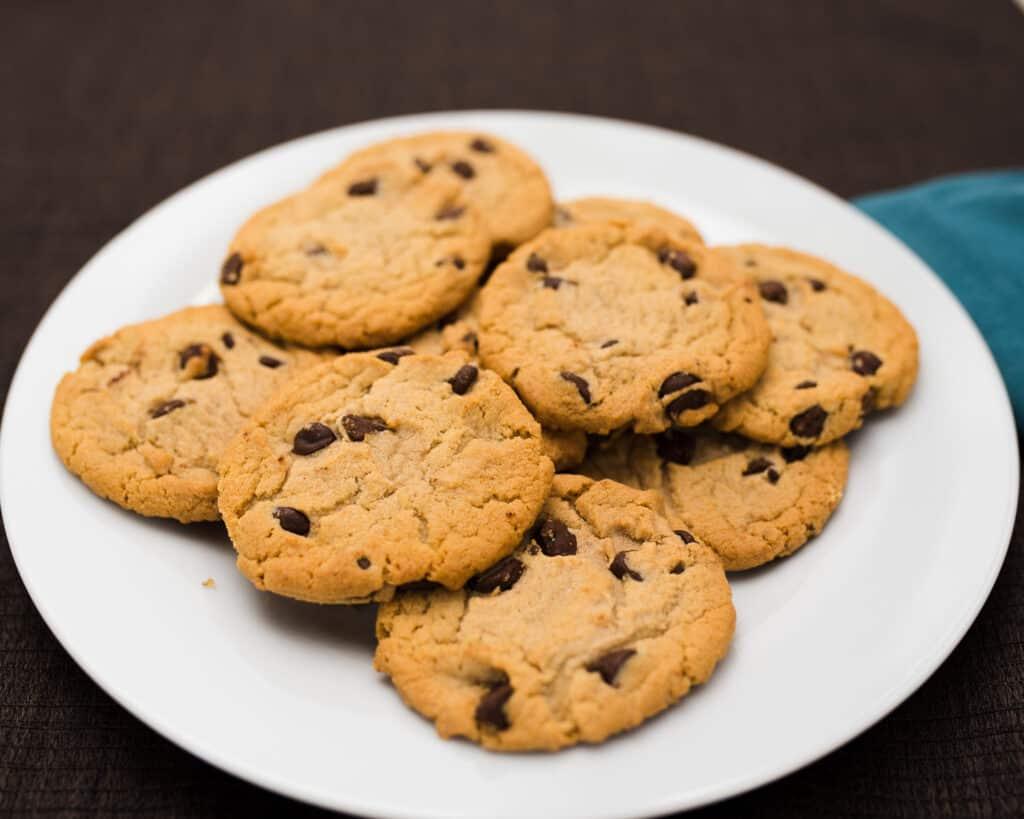 Plate of chocolate chip Wookie Cookies or Chewy Cookies