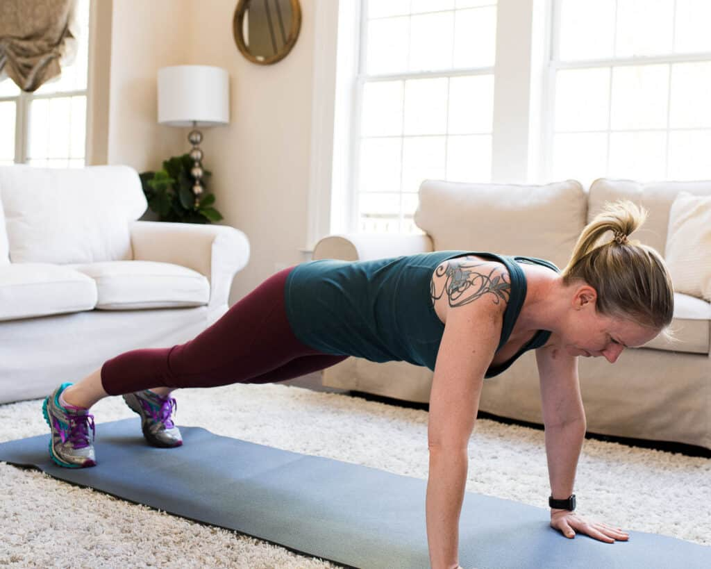 planking in living room for home exercise