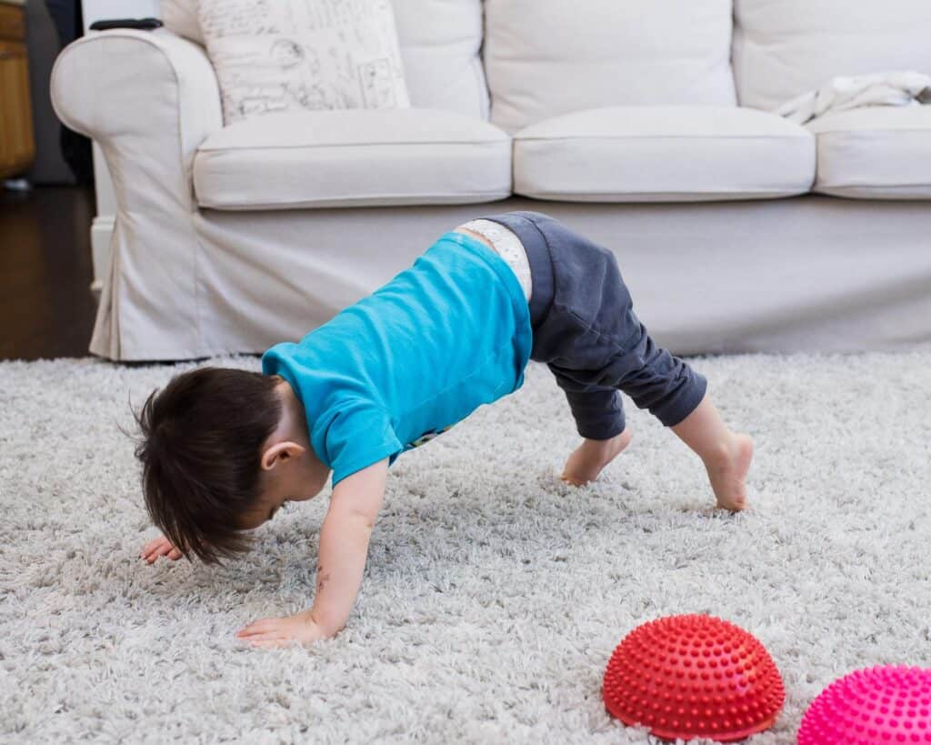 toddler doing home workouts for kids