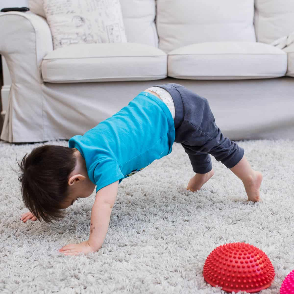 toddler doing home workouts for kids square