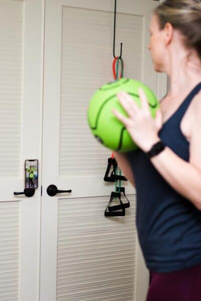 exercising with dribbleup medicine ball