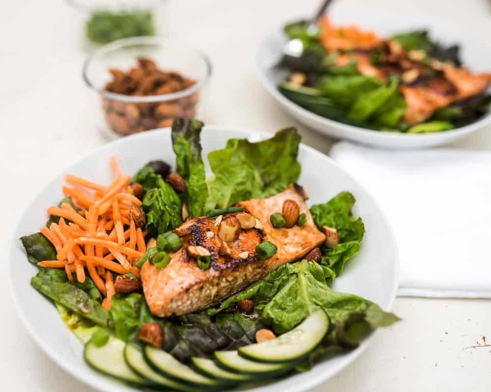 plates of asian salmon salad