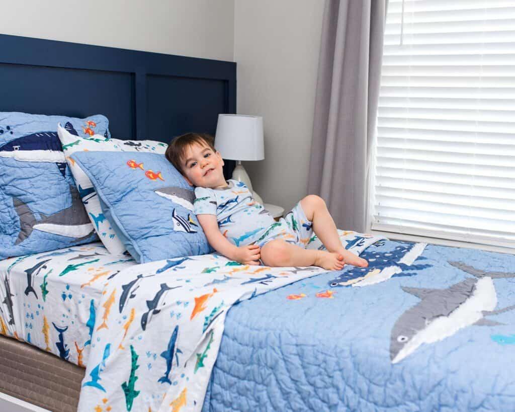 shark decor and bedding for big boy bedroom makeover