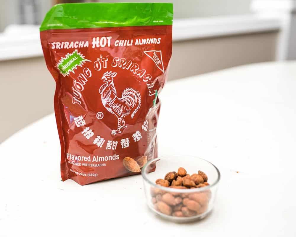 sriracha hot chili almonds are a healthy snack