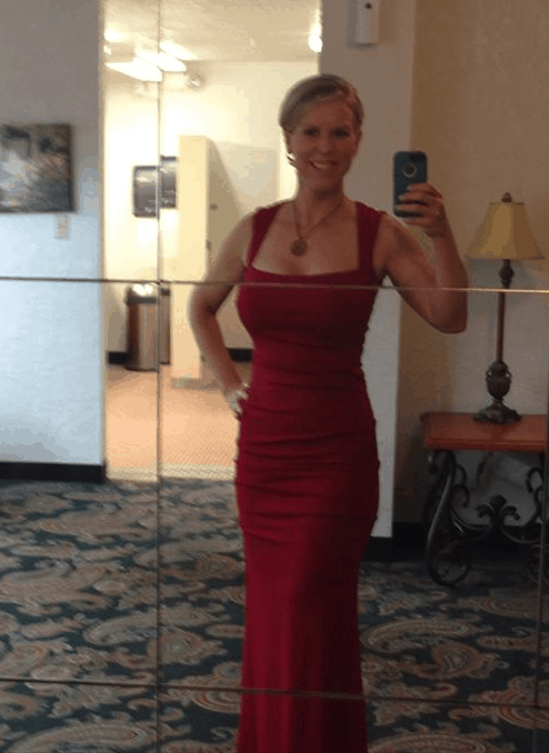 Amanda Seghetti wearing red dress to army ball after 21 day fix extreme countdown to competition