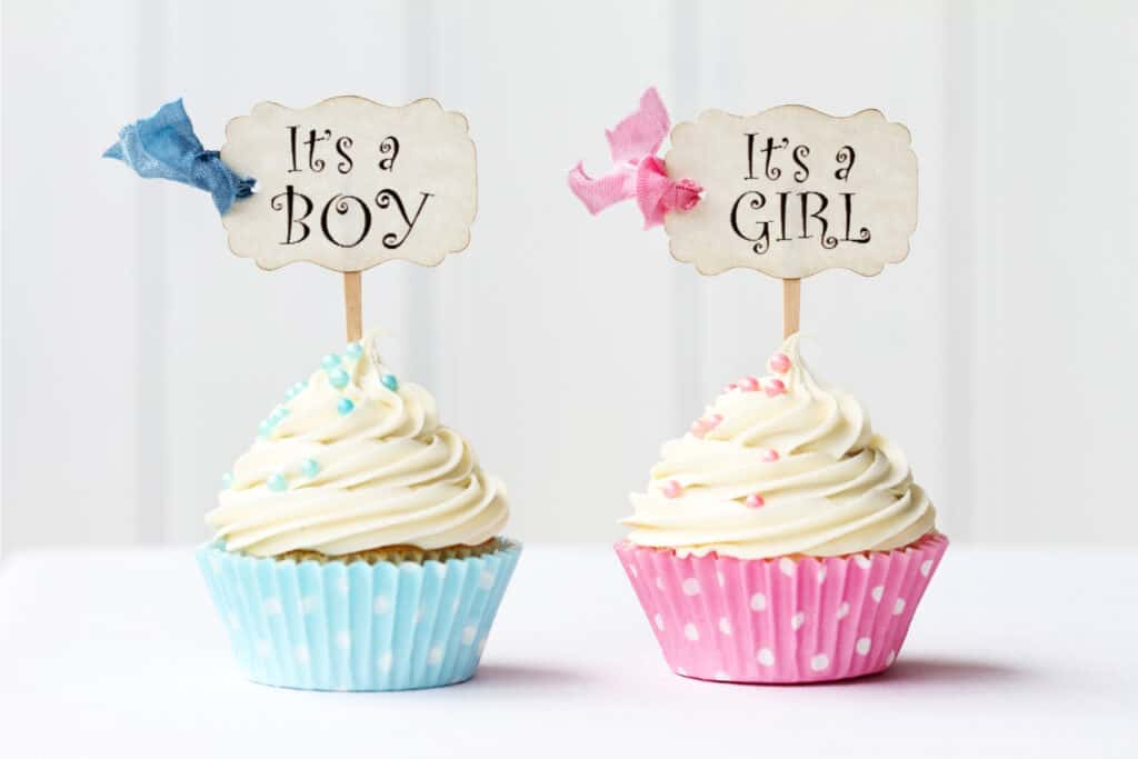Gender reveal photo with pink and blue cupcakes