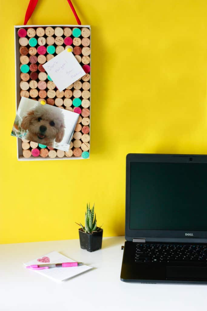A simple cork board for your office made from recycled wine bottle corks.