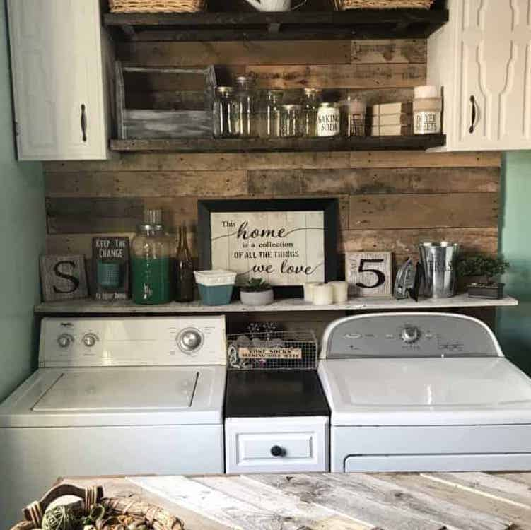 finished diy pallet wall in laundry room makeover