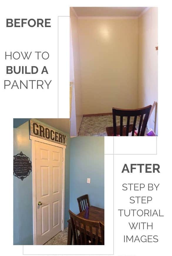 before and after DIY kitchen pantry