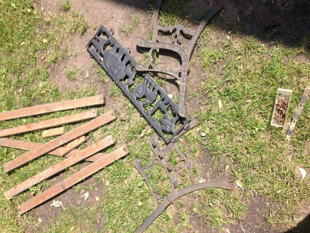 disassemble old iron bench