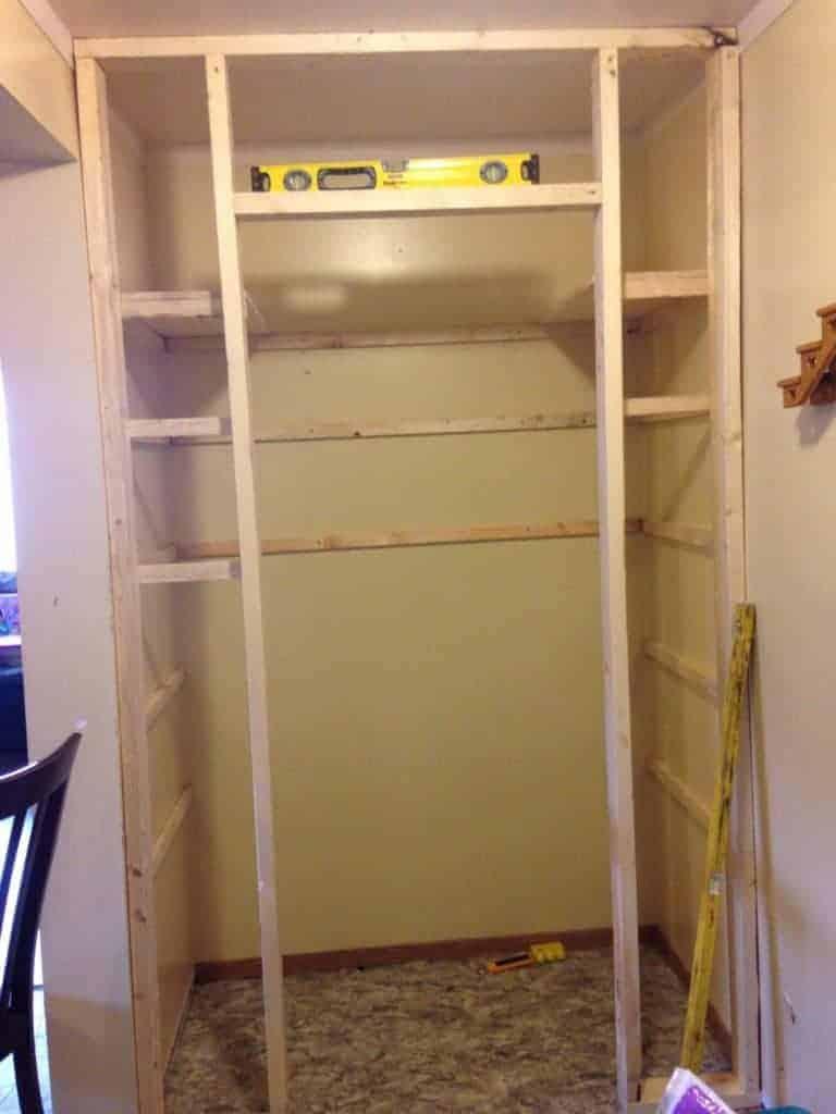 framing shelves of pantry