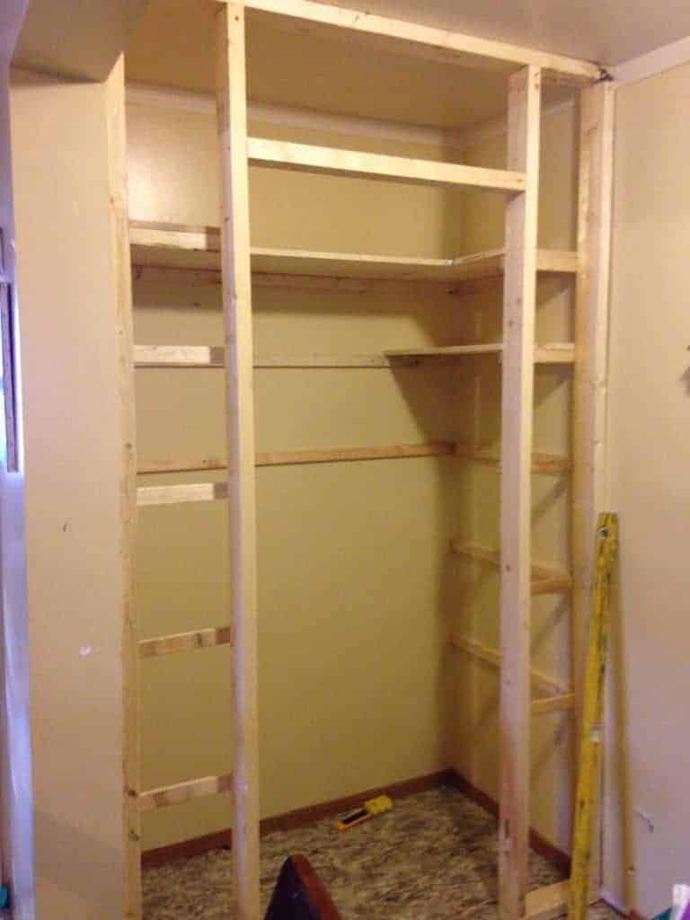 installing shelves in pantry