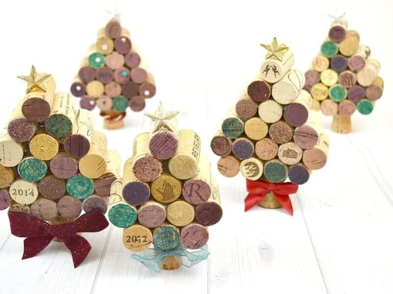 Christmas tree ornaments made from Wine Corks.
