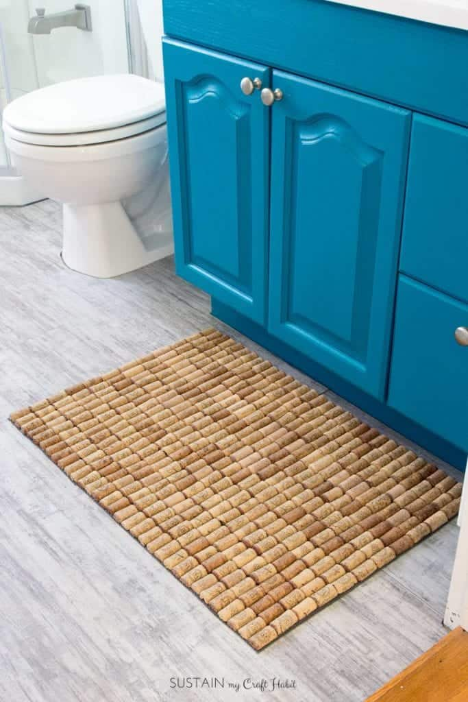 rustic bathmade made from upcycled wine corks