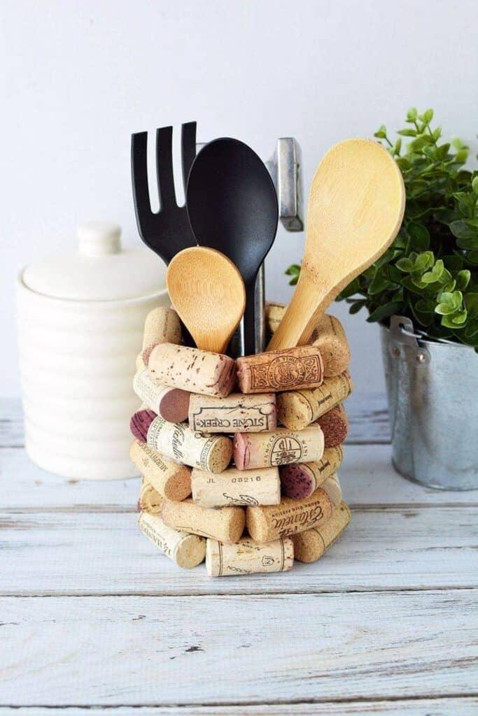 Wine cork kitchen utensil holder