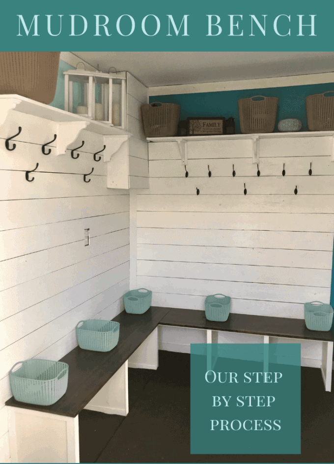 DIY tutorial for entryway mudroom bench with shiplap walls