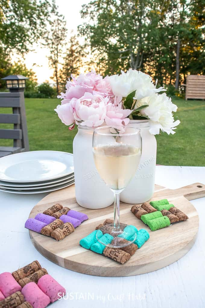 Colorful coasters made from used wine corks.