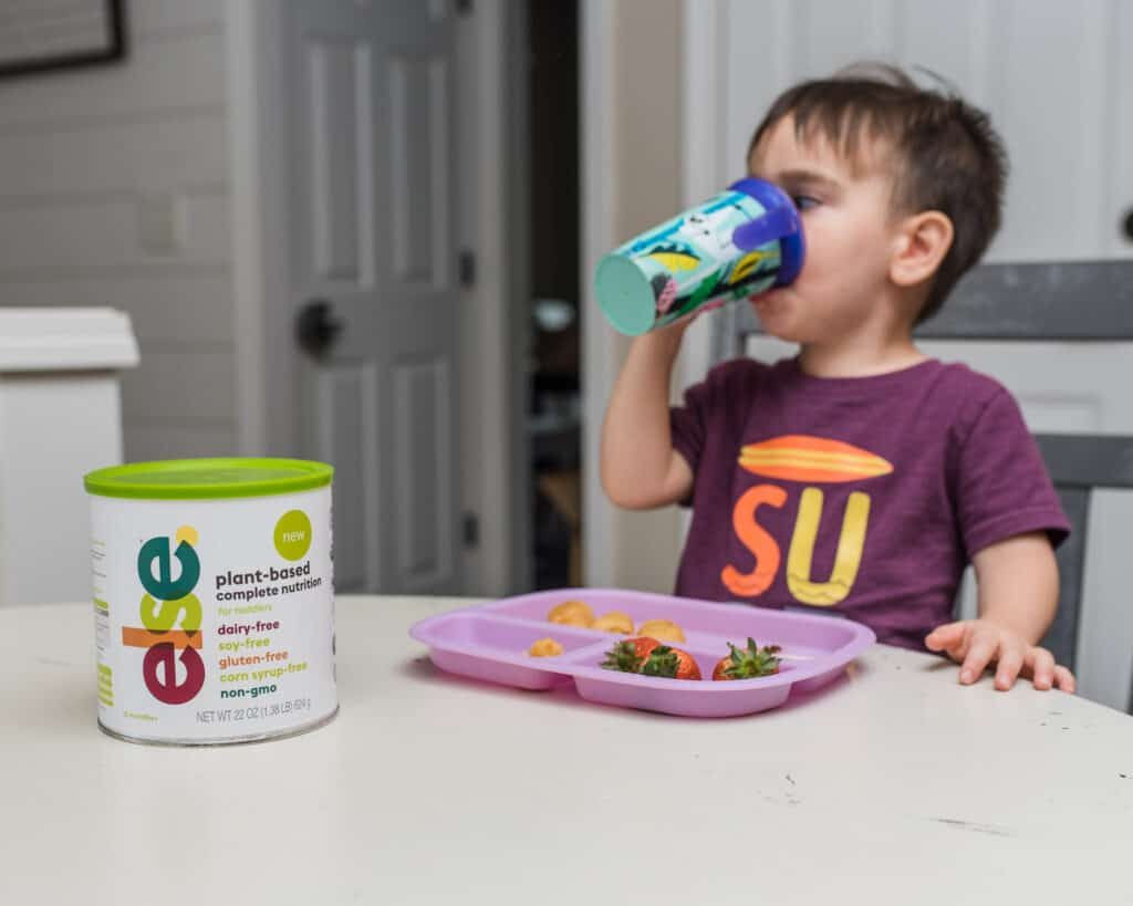 Toddler drinking Else Nutrition complete toddler formula