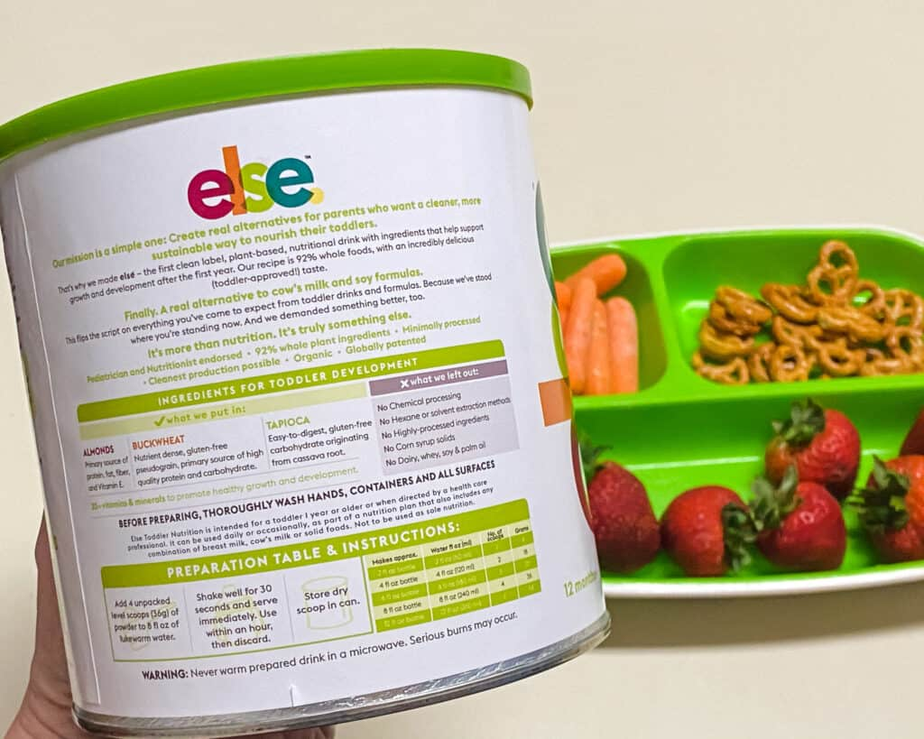 back of can of else nutrition plant based toddler formula