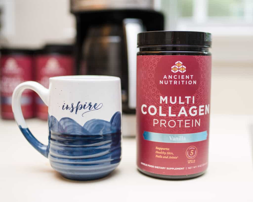 best collagen for moms next to coffee mug