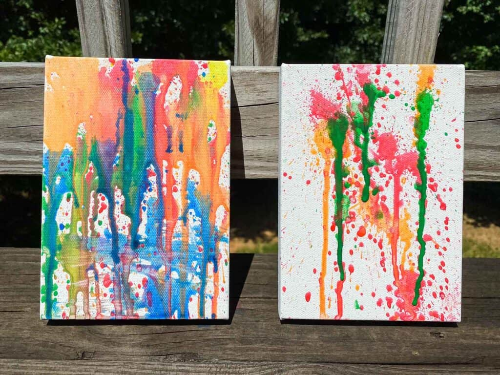 canvas painting activity with water guns