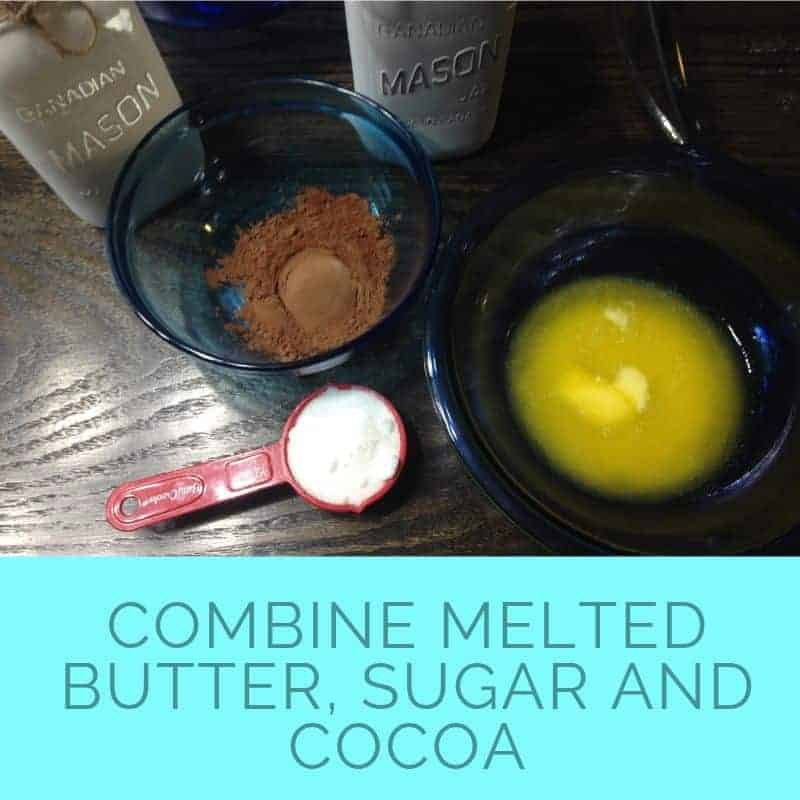 combine melted butter sugar and cocoa