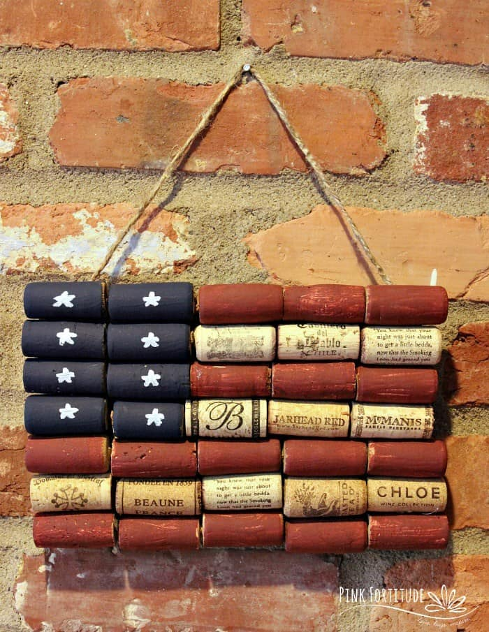 decorative American flag made from upcycled wine corks.