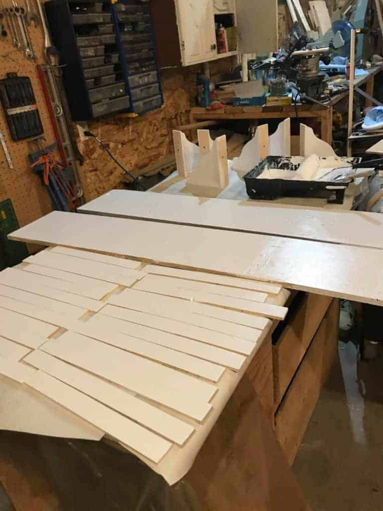 materials for entryway bench and shiplap walls