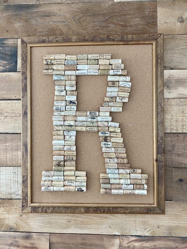 monogrammed cork wall art