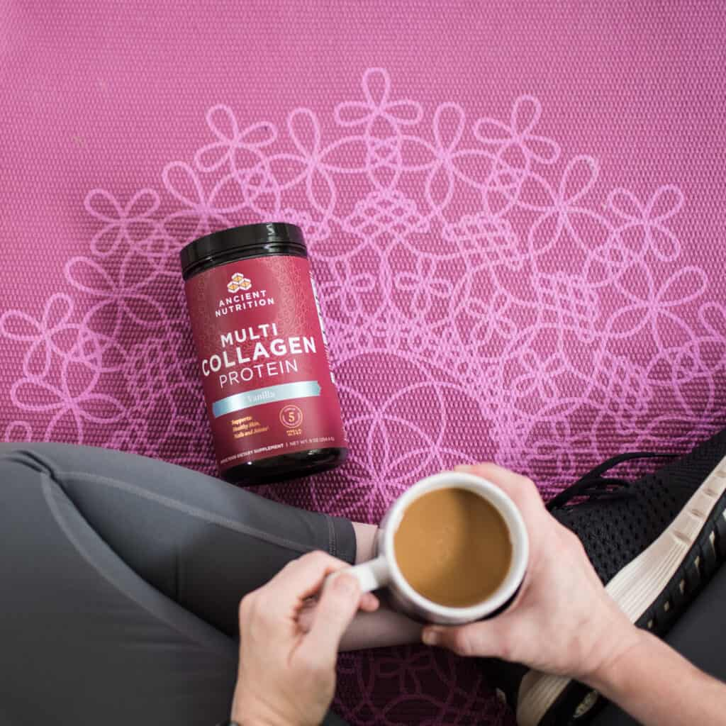 multi collagen protein on yoga mat