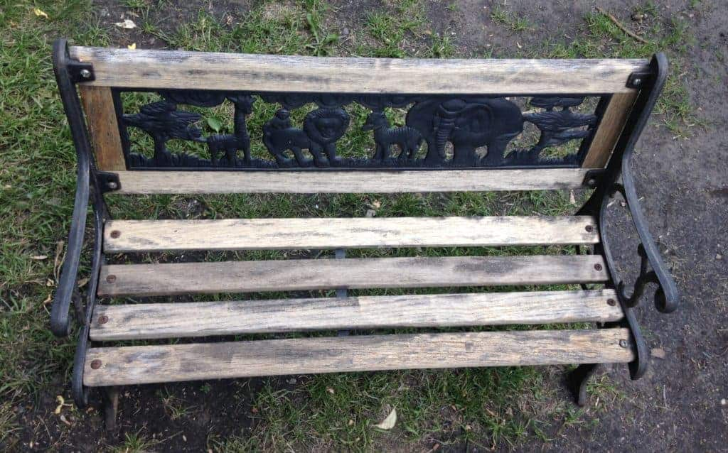 old iron bench before restoration