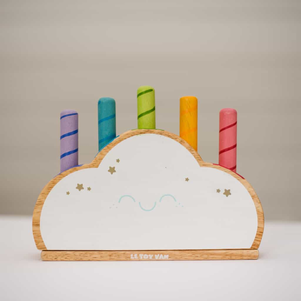 rainbow cloud pop toy from le toy van