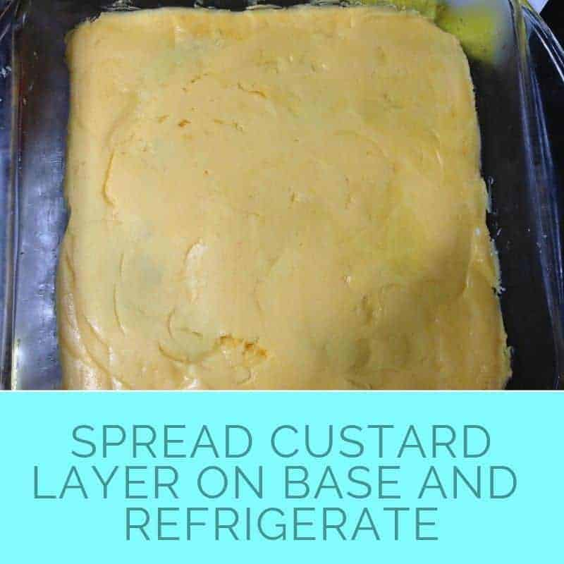 spread custard layer on nanaimo bar base