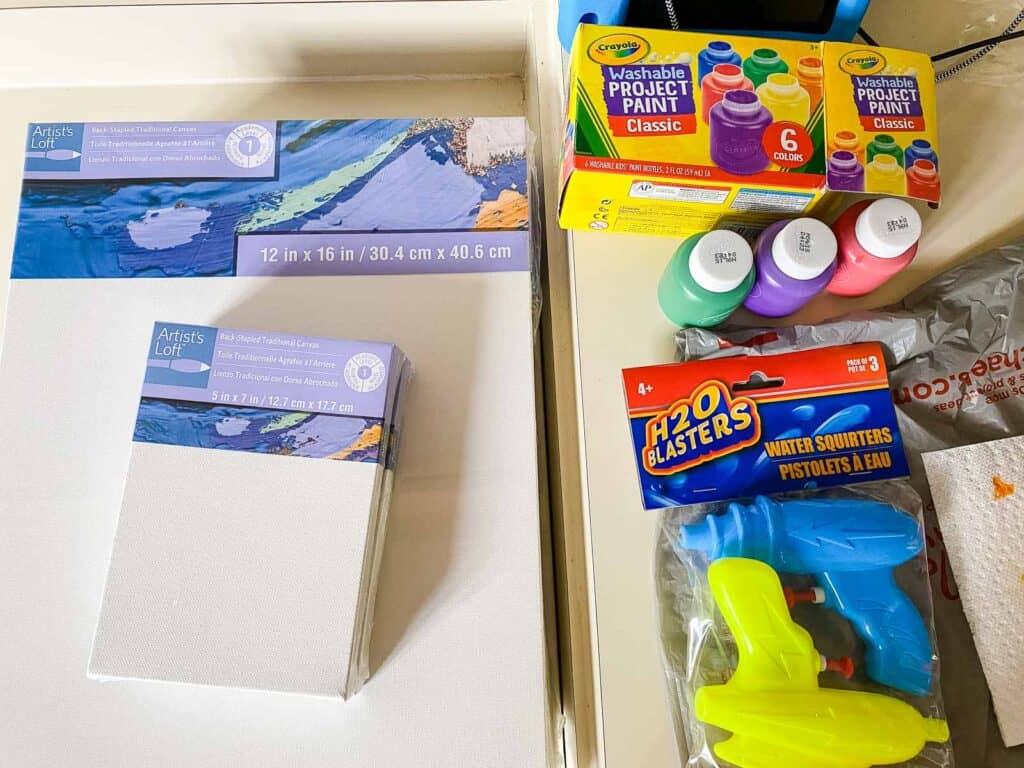 supplies for water gun painting